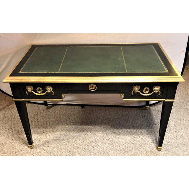 French Pair of French Ebony Leather Top Bronze-Mounted Desks in Maison Jansen Manner For Sale - Image 3 of 13