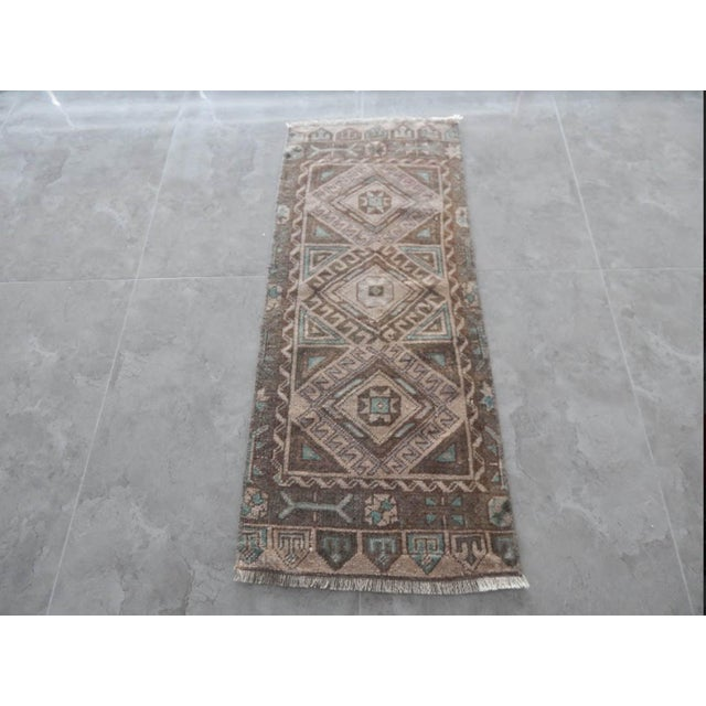 Brown Low Pile Distressed Small Rug Hand Knotted Oushak Rug For Sale - Image 8 of 8