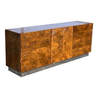 Milo Baughman Burl Chrome Sideboard Dresser For Sale