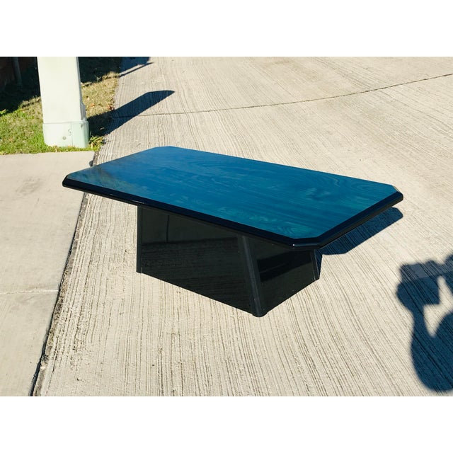 1980s Vintage Wood Coffee Table Malachite Finish For Sale - Image 9 of 12
