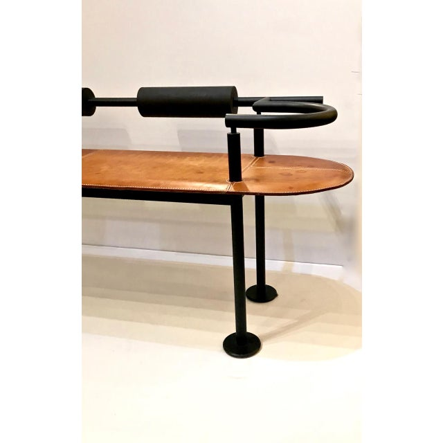 Mid-Century Modern Iron and Saddle Leather Bench by Cy Mann For Sale - Image 3 of 7