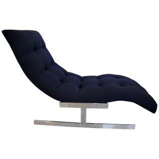 "1970s Milo Baughman ""Wave"" Chaise in Polished Chrome and Black Upholstery For Sale"