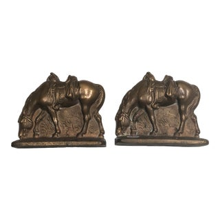 Vintage Bronze Western Horse Bookends - a Pair For Sale