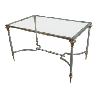 Vintage Brass French Glass Top Coffee Table For Sale