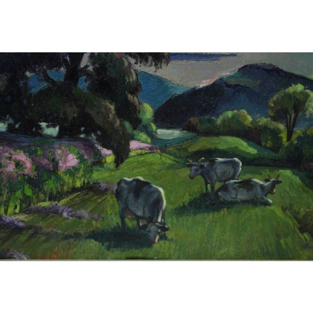 """Blue """"Eventide"""" Cow Oil Painting by Buchholz For Sale - Image 8 of 9"""