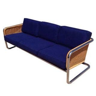 Italian Sibella Wicker & Chrome Sofa