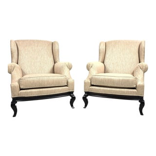 Modern Bergère Chair With Cabriolet Legs- a Pair For Sale