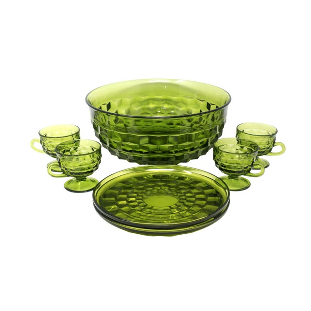1970's Colony Whitehall Collection Green Punch Bowl, Cups and Plates - Set of 7 For Sale