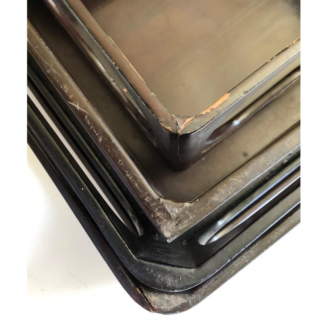 Japanese Lacquered Nesting Tables For Sale - Image 10 of 11