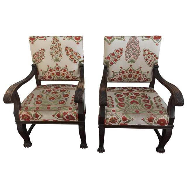 Suzani Upholstered Armchairs - A Pair - Image 1 of 10