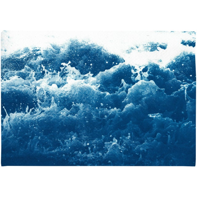 2020 Abstract Crashing Water, Large Seascape Cyanotype Print on Paper For Sale