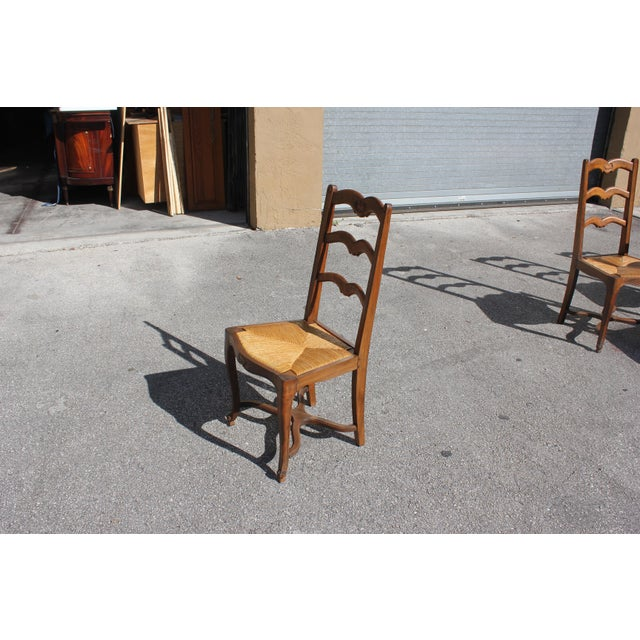 1910s Vintage French Country Rush Seat Solid Walnut Dining Chairs- Set of 6 For Sale - Image 11 of 13