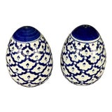 Image of Blue & White Salt and Pepper Shakers For Sale