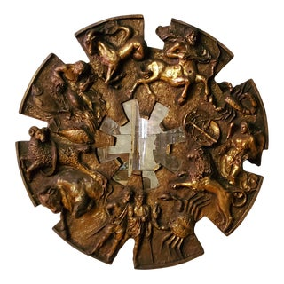 Brutalist Finesse Originals Gilded Zodiac Decorative Mirror C. 1970 For Sale