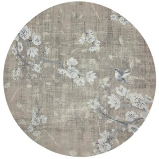 "Nicolette Mayer Blossom Fantasia French Gray 16"" Round Pebble Placemats, Set of 4 For Sale"