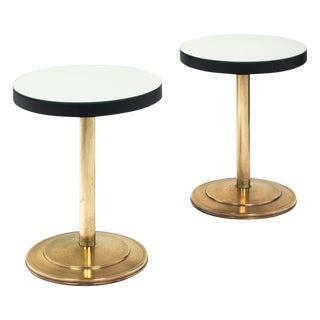 Mirrored Modernist Side Tables attributed to Jacques Adnet