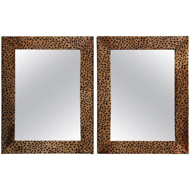 Animal Skin Custom Made Mid Century Modern Faux Leopard Leather Frame Mirrors - a Pair For Sale - Image 7 of 7
