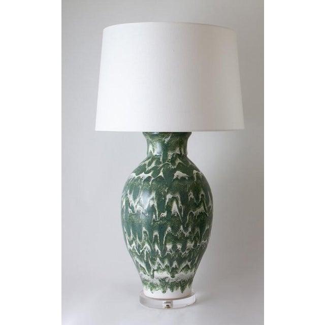 "Ceramic Paul Schneider Ceramic ""Matagorda"" Lamp in Drip Banded Forrest Glaze For Sale - Image 7 of 7"