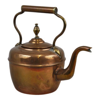 Antique English Victorian Copper Kettle For Sale