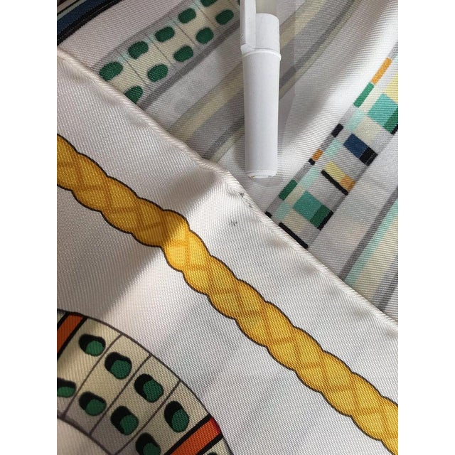 Wood Hermes Les Cannes Silk Scarf in White For Sale - Image 7 of 11