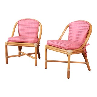 McGuire Hollywood Regency Organic Modern Bamboo Rattan Slipper Chairs - a Pair For Sale