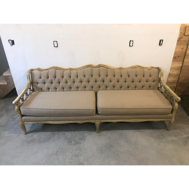 Groovy Restored Vintage French Cream And Gold Tufted Sofa Gmtry Best Dining Table And Chair Ideas Images Gmtryco