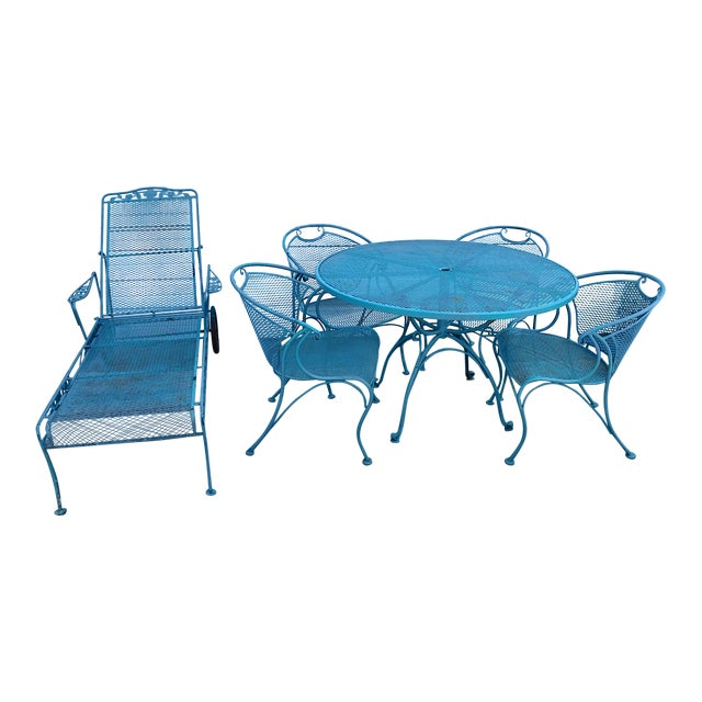 Mid Century Modern Aqua Blue Wrought Iron Patio Set With Lounge on Wheels For Sale