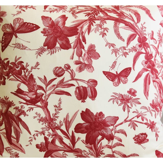 "P. Kaufmann Aviary & Floral Toile Feather/Down Pillows 23"" Square - Pair For Sale - Image 4 of 13"