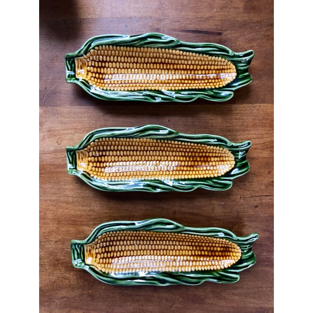 Majolica Glazed Corn Ceramics- Set of 3 For Sale In Charleston - Image 6 of 6