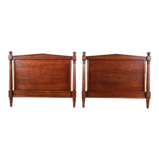 Kindel Furniture Neoclassical Walnut Twin Headboards, Pair For Sale