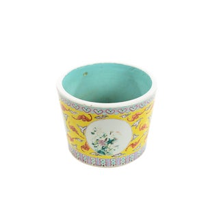 Antique Chinese Beautiful Yellow Porcelain Planter For Sale