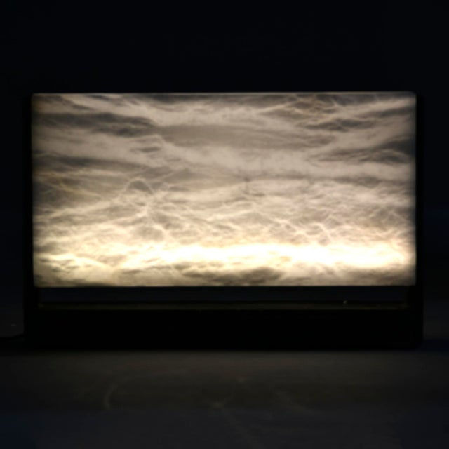 Hand Carved Italian Alabaster Rectangular Led Table Lamp For Sale - Image 12 of 13