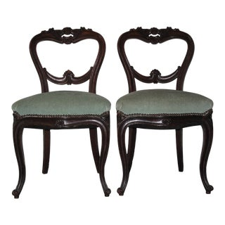 Pair Shield Back Parlor Chairs Light Green Upholstery For Sale