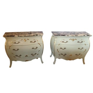 Paint Decorated Marble Top Chests- A Pair For Sale