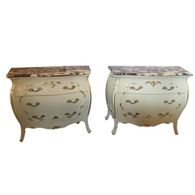 Paint Decorated Marble Top Chests- A Pair - Image 1 of 10