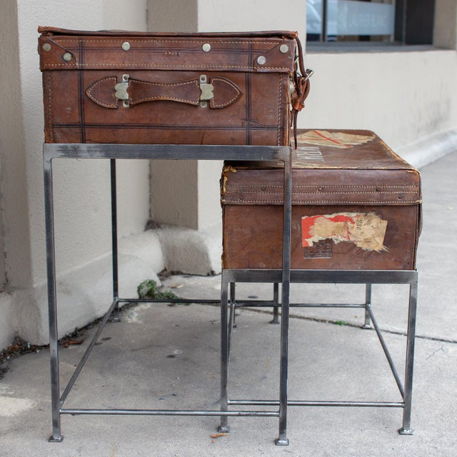 Rustic Pair of Antique English Luggage Nesting Tables For Sale - Image 3 of 13