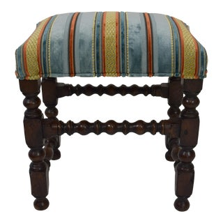19th-Century Upholstered Oak Footstool For Sale