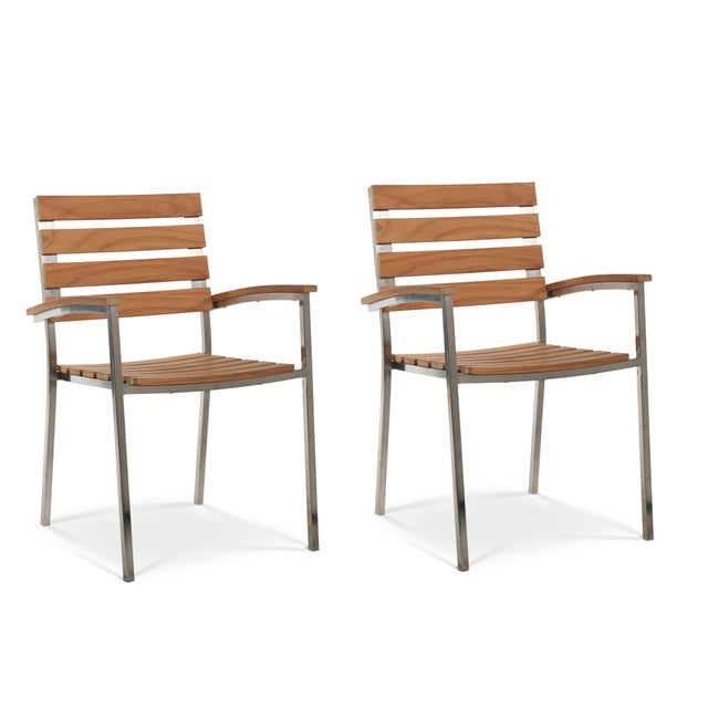 Al Fresco Teak and Metal Outdoor Dining Armchair (Set of 2) For Sale In Los Angeles - Image 6 of 6