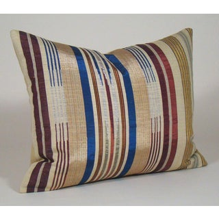 Antique Handwoven Striped Silk Pillow Cover With Metallic Threads Preview