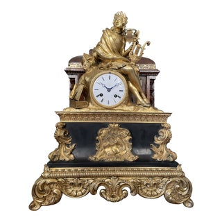 Large Antique Early 19th Century French Bronze Clock Dedicated to Petrarch For Sale