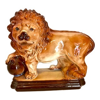 Staffordshire Standing Lion with Ball, 19th Century For Sale