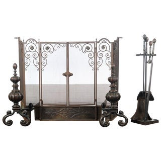 Antique Ornate Spanish Cast Iron Fire Place Screen For Sale