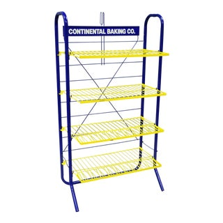 Continental Baking Co Folding Blue Yellow Twinkie Metal Store Display Book Shelf For Sale