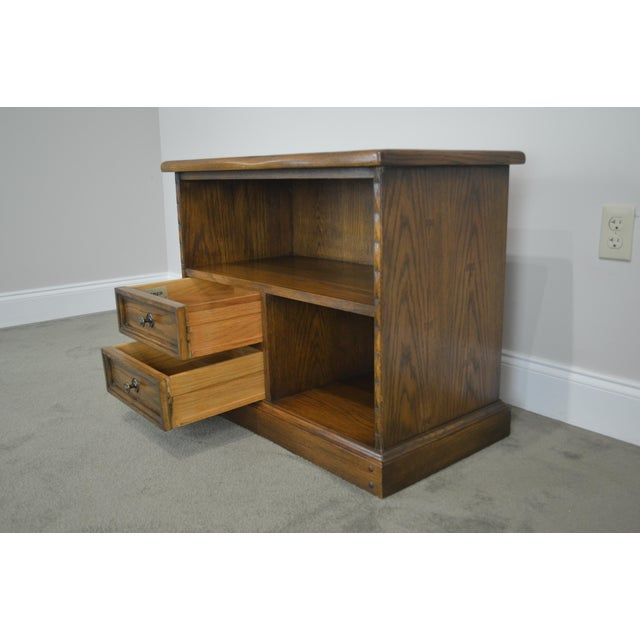 Traditional Romweber Viking Oak Bookcase 2 Drawer Side Table With Brass Inlaid Horseshoes For Sale - Image 3 of 13