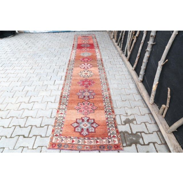 "1960's Vintage Turkish Hand-Knotted Long Runner Rug - 2'6"" X 13'8"" For Sale - Image 11 of 11"