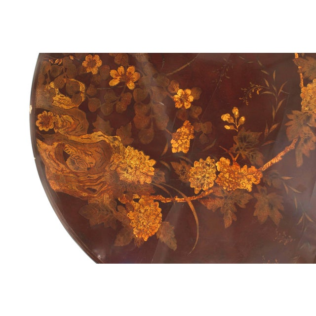 Mid 20th Century English Queen Anne Style Chinoiserie Rust Lacquer Floral Design Coffee Table For Sale - Image 5 of 8
