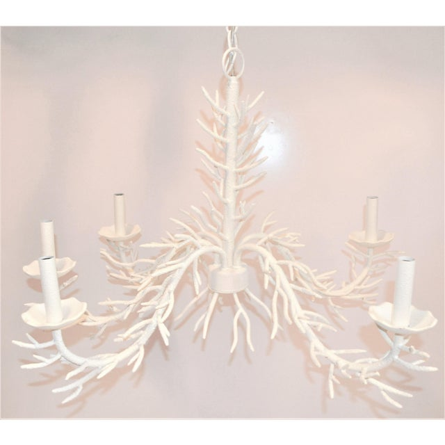 2010s White 5 Arm Faux Coral Chandelier For Sale - Image 5 of 10