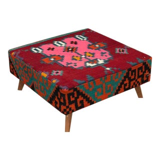 Red & Pink Turkish Square Ottoman For Sale