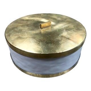 1960s Vintage Italian Ceramic & Brass Box For Sale