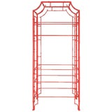 Image of Chinese Chippendale Pagoda Faux Bamboo Iron Etagere For Sale